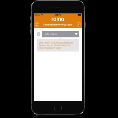 ROMA Pakethöhenkonfigurator Screen 1