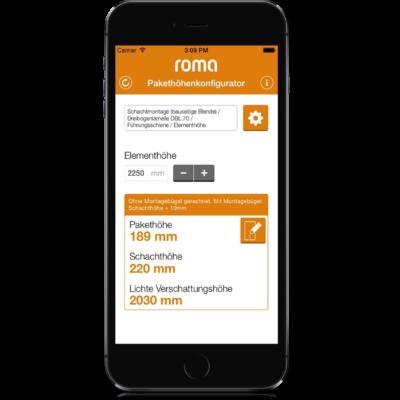 ROMA Pakethöhenkonfigurator Screen 3